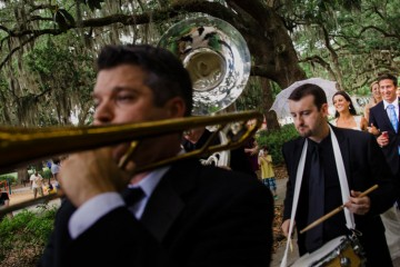 savannah weddings - B+G marching band exit - savannah wedding photographers king street studios